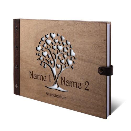Hochzeit Gästebuch Personalisiert Okoume Holz Lederrücken A4 Herzbaum
