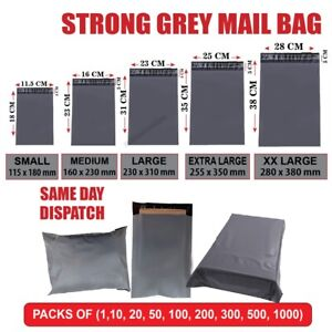 GREY MAILING BAGS STRONG POLY POSTAL POST POSTAGE SELF SEAL PACKAGING SHIPPING