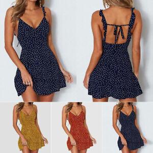 Womens-Boho-Floral-Summer-V-Neck-Party-Evening-Beach-Short-Mini-Dress-Sundress-U