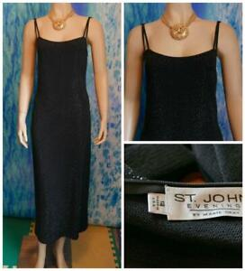 ST-JOHN-Evening-Santana-Knit-Black-Dress-L-10-12-Sleeveless-Sheath-LBD-Shimmer