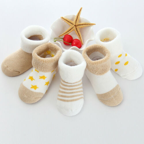 5 Pairs Newborn Baby Toddler Socks Cotton Slipper Cartoon Soft Warm Shoes Boots