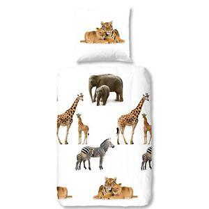 Good-Morning-Bettwaesche-6226-Young-Wild-Weiss-Tiere-Tiger-Giraffe-Zebra-Flanell