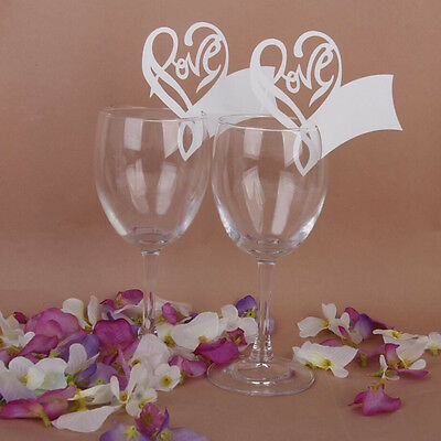 50pcs Name Place Card Love Heart Table Mark Wine Glass  Wedding Party Decoration