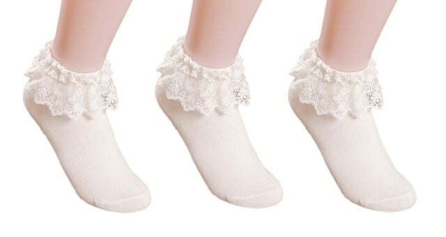 AM Landen® 3 Pairs Super Cute Princess Lace Ruffle Frilly Ankle Socks-White