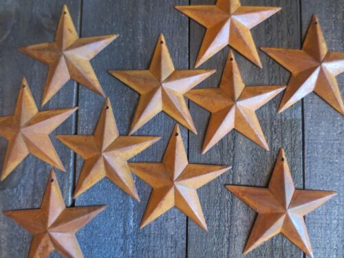 """Lot of 10 Rusty Tin Barn Stars 5.5 in 5 1//2/"""" Dimensional Primitive Country Craft"""