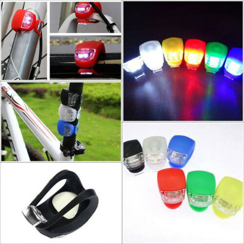 2Pcs Silicone Bicycle Front Light LED Head Rear Bike Wheel Lights Night Cycling