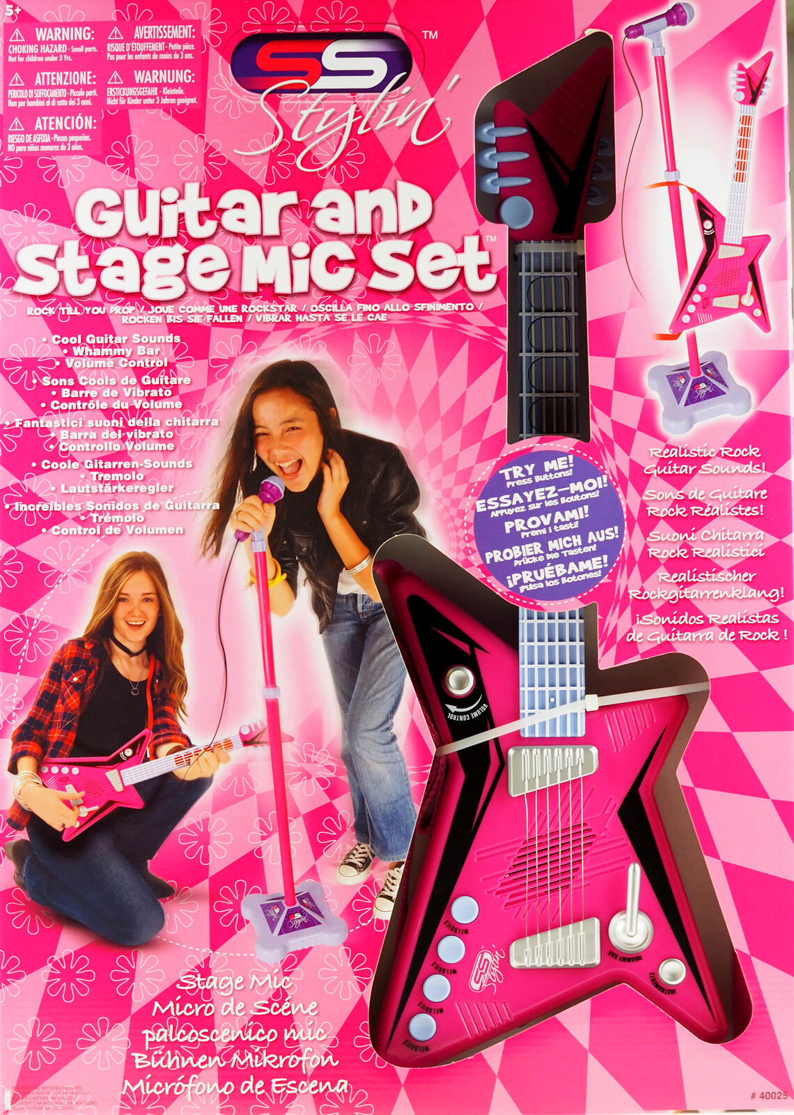 Hot Pink Guitar And Stage Microphone Set
