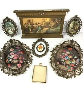 8-Vintage-Antique-Gold-Tone-Ornate-Frames-Art-Deco-Victorian-Made-in-Italy