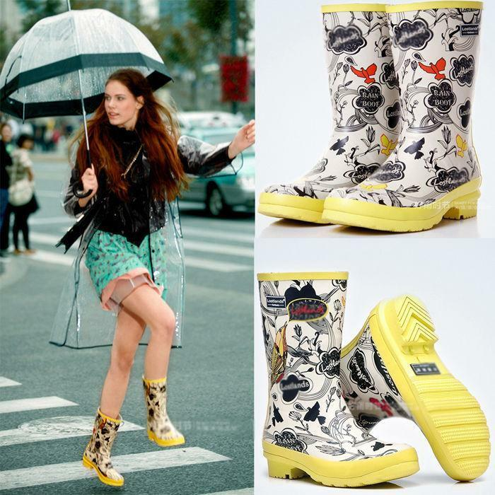 Women's Arrivals Flower Bird Fashion SizeFreehand Mid-calf Rain shoes Rain Boots