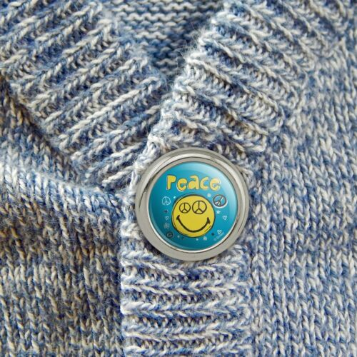 Peace Eyes Smiley Face With Flowers Metal Craft Sewing Buttons Set of 4