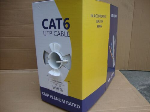 White 1000ft Cat5e Plenum Black Cat6 CMP Bulk Cable Blue
