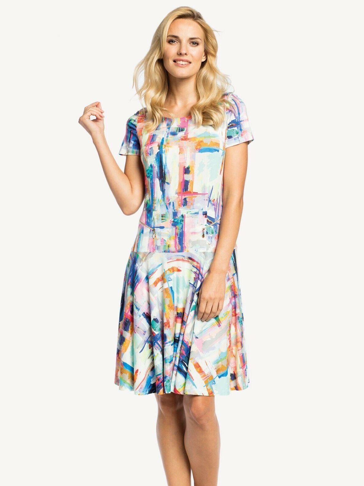 damen freizeitkleid sommerkleid volantkleid mehrfarbig kurzarm knielang gr.  48 | ebay