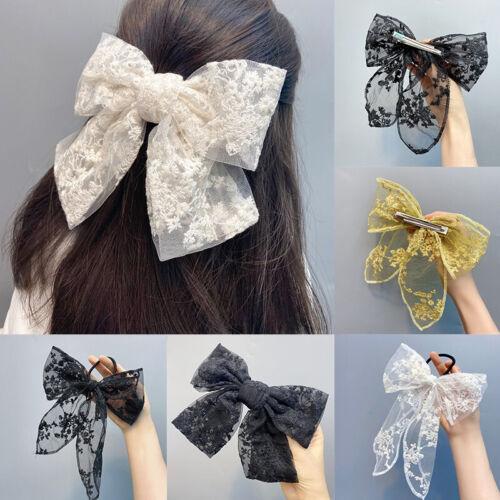 Women/'s Lolita Lace Big Bow Hair Clips Girls Hairpins Barrettes Hair Accessories