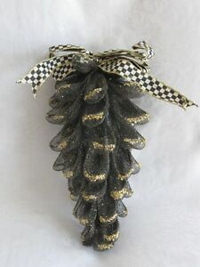 Mackenzie-Childs-COURTLY-CHECK-Upscale-Mesh-PINECONE-ORNAMENT-w-Bow-Lg-mc14-j