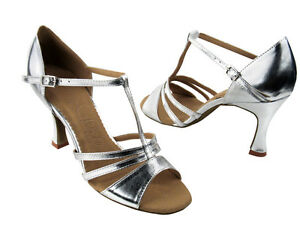 Latin Salsa Very Fine Ballroom Competitive Dance Shoes SERA1683 Silver Leather