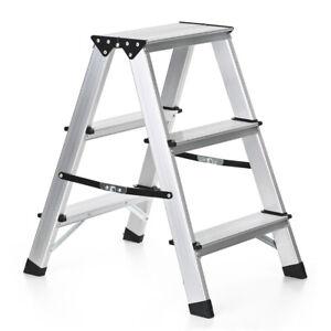 alu trittleiter stehleiter klapptritt doppelleiter haushalt leiter 3 stufen n4r3 ebay