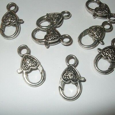 LARGE HEART LOBSTER CLASPS SILVER ANTIQUE BRONZE GOLD ORNATE  26mm x 13mm SC12