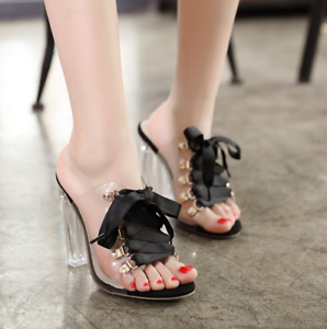 womens trendy sexy peep toe rhinestones hollow out wedge