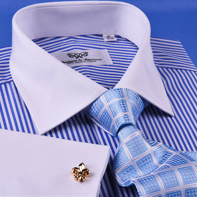 Mens Light Blue Striped With White Contrast Collar /& French Cuff Dress Shirt