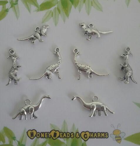 ❤ Pack de 8 ❤ ❤ DE MANUALIDADES//JOYERÍA mixta ❤ Dinosaurio 3D Charms