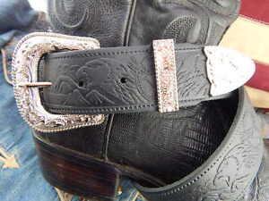 Bright Silver Metal 3 Piece Buckle Set 40mm S M L XL Brown Leather Western Belt