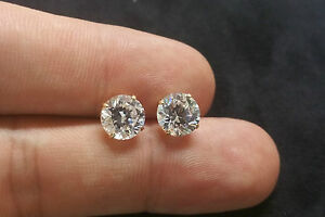 Image Is Loading 3ct 14k Yellow Gold Brilliant Solitaire Earrings Lab