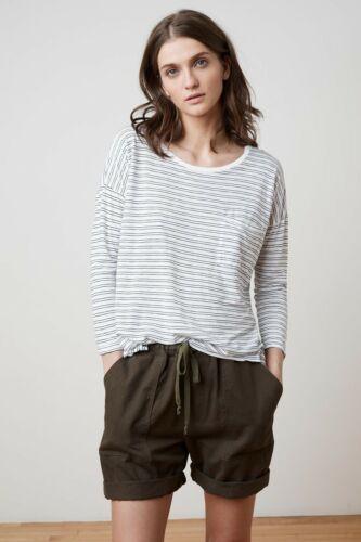VELVET By Graham Spencer Manuka Stripe 3//4 Sleeve Pocket T Top White S $108 B20
