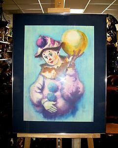 LARGE-PHILLIPE-ALFIERI-LISTED-ARTIST-CLOWN-LITHOGRAPH-SIGNED-amp-NUMBERED