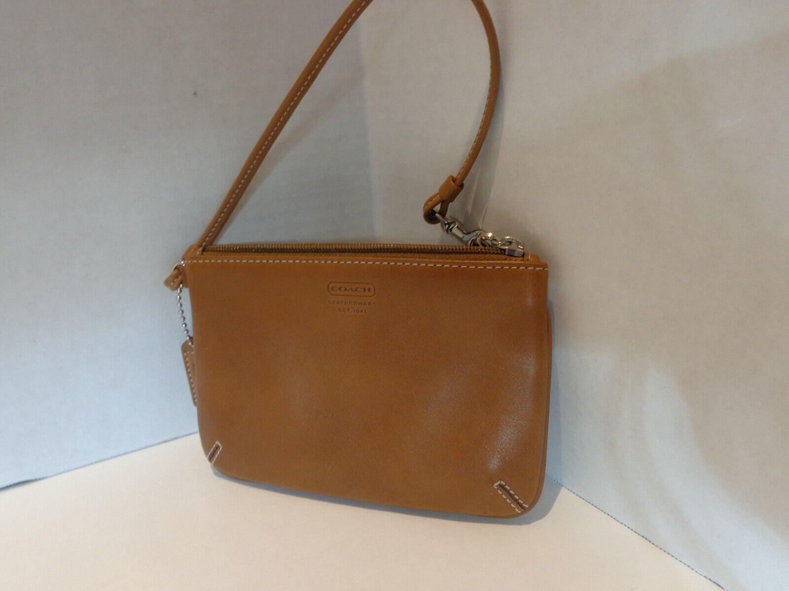 Coach Slim Wristlet Wallet Saddle Light Brown Leather NWOT