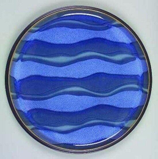 Denby Bleu, jetée, eau, plat rond 13 in (environ 33.02 cm)  NOUVEAU