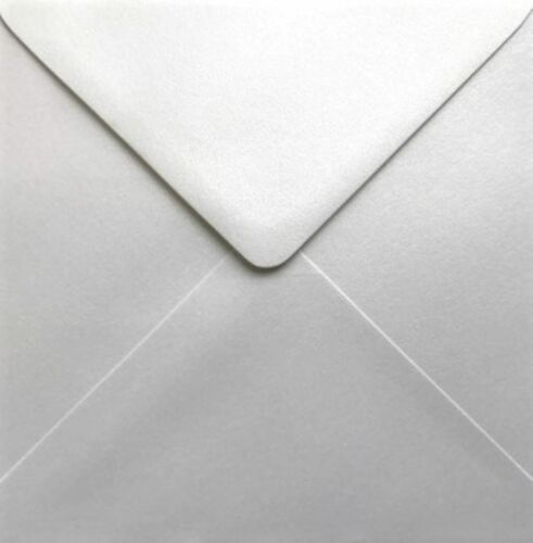 6x6 White Envelopes Pearlescent Luxury 120gsm Ice Silver Pack 50 by Cranberry