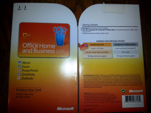Microsoft Office 2010 Home and Business product key card,SKU T5D-00295,PKC,Full