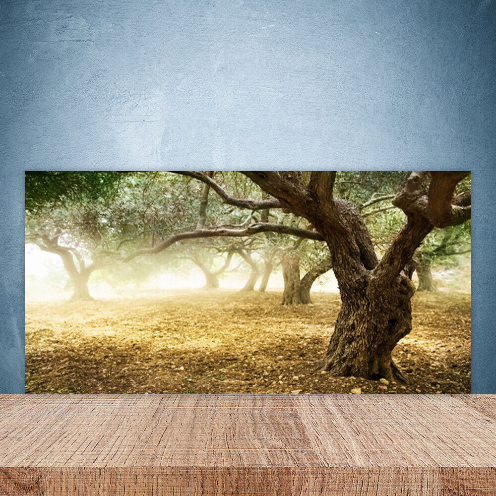 Cupboard kitchen glass wall panel 100x50 nature trees grass