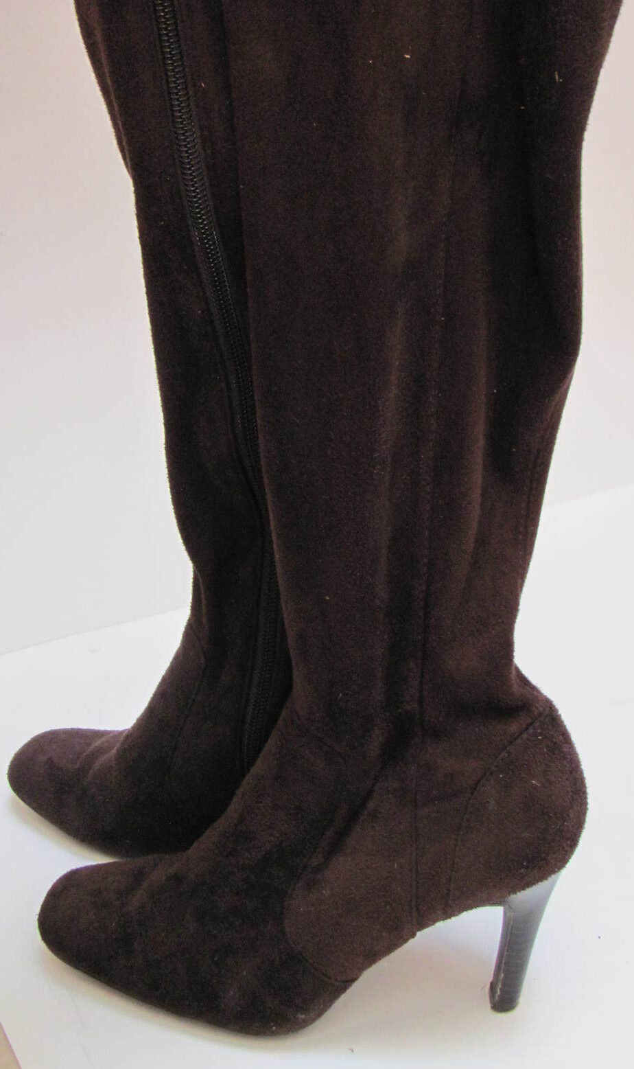 Womens Isaac Mizrahi Brown Suede-like Fabric Tall High Heel Boots Size 6 1/2