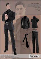C187 1/6 Clothing - Black Stripe Men Suit Full Set(Ver.2)-Fit HOT TOYS,TTL Body