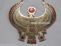 Huge Egyptian Hand Made Falcon Enameled Brass Pectoral Necklace W. Life Key