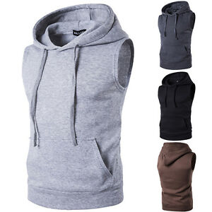 Men-039-s-Gym-Sleeveless-Vest-Hoodie-Tank-Top-Muscle-Sport-Fitness-Hooded-T-shirt