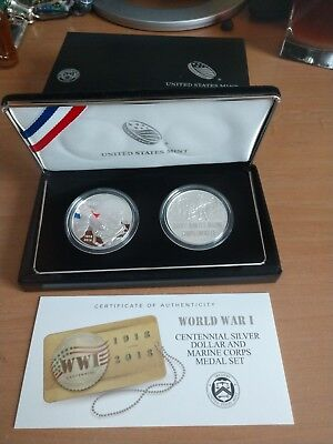 World War I Centennial 2018 Silver Dollar and Army Medal Set