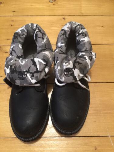 Uk Timberland excelentes condiciones Roll Boots Black 6 Ladies Camo Down 5 x4qOAIwY