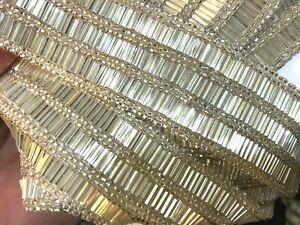 "Beaded Silver Hand Sewn 1 5/8"" Trim Glass Bugle Seed Beads Sash Sheer 1yd"