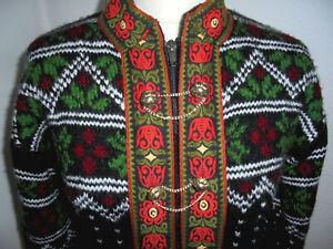vintage Norweger Strickjacke Wolljacke Tracht Jacke Wolle boho hippie M
