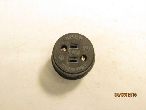Eagle 254 15a 125v straight blade rubber connector w// cord clamp 2p2w NEMA 1-15R