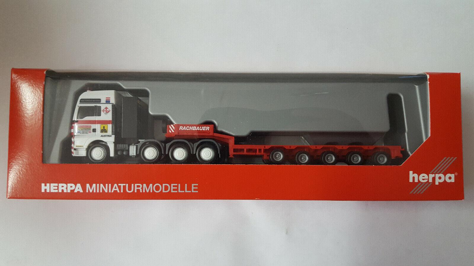 Herpa 158145 MAN TGX XXL profundo de carga remolcarse  Rachbauer Special  Austria (a) 1 87