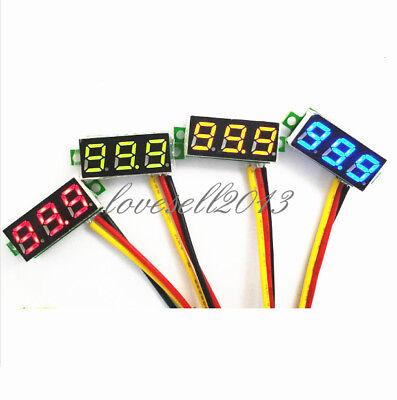 """0.28"""" 3-Wire LED DC 0-100V Voltmeter Digital Display Voltage Panel Meter Blue LO"""