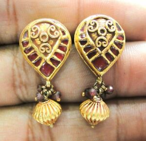 Vintage antique 22K Gold jewelry Ruby Gemstones Earring Pair India