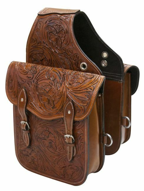 Floral Tooled Brown Leather Western Horse Saddle Bags Motorcycle ATV SB-61