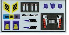 TRANSFORMERS GENERATION 1, G1 DECEPTICON WEIRDWOLF REPRO LABELS / STICKERS