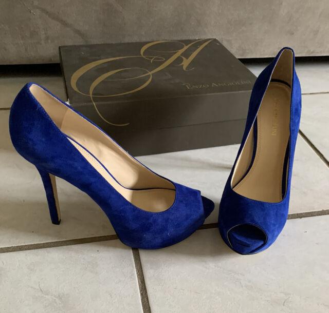 NEW Enzo Angiolini Eatanen Heels 9.5 M Royal Blue Suede Pumps Shoes Peep Toe