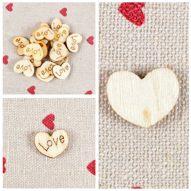 100pcs Wooden Love Heart Charms Pieces Weddings Buttons Findings Sewing Craft