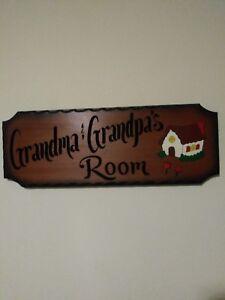 American-Made-034-Grandma-amp-Grandpa-039-s-034-Solid-Wood-Sign-Preowned
